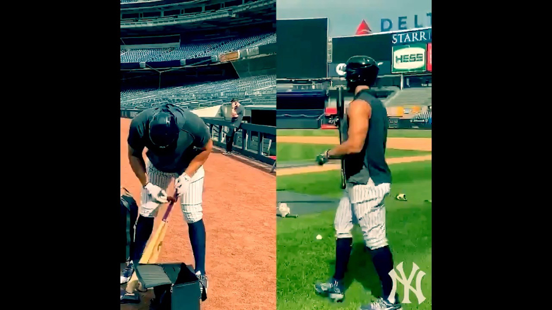 VIDEO: The Yankees released this footage of Giancarlo Stanton and Aaron Judge taking batting practice at Yankee Stadium today.