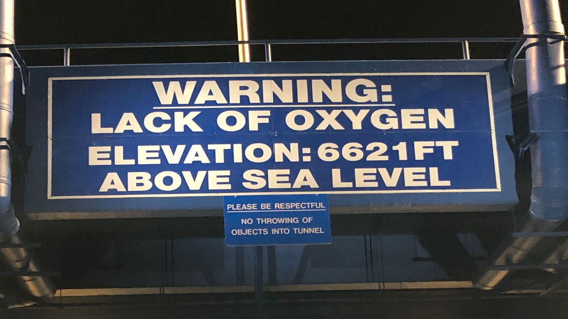 """There are several """"lack of oxygen"""" warning signs near the field entrance at U.S. Air Force Academy's Falcon Stadium, where the Colorado Avalanche host the Los Angeles Kings on Saturday night. Kings coach Todd McLellan said keeping his players' shifts short is crucial, as his team was feeling the elevation at Friday's skate. """"It will come into play for us. We don't train at this level. There were some red faces and some tongues hanging out at practice,"""" he said."""