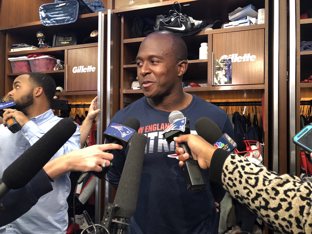 """Matthew Slater smiles when asked about playing four offensive snaps at the goal-line, saying, """"I tried to do my best Jackie Slater impression."""" Slater's father Jackie, of course, is a Pro Football Hall of Famer who had a 20-year career as a Rams offensive tackle."""