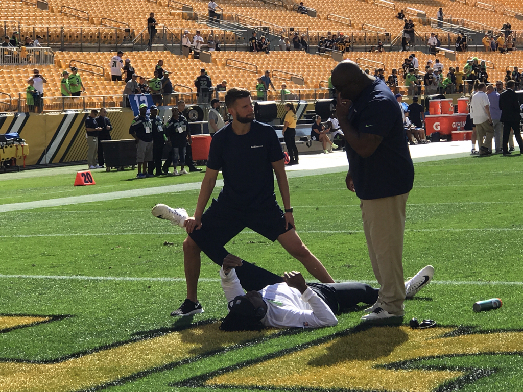 """Ziggy Ansah's Seahawks debut will have to wait at least another week as he's inactive for today's game at Pittsburgh. Ansah (shoulder) was listed as questionable and Pete Carroll was non-committal about Ansah playing against the Steelers even though he was a full participant in practice Thursday and Friday, saying: """"He's getting really close. If he doesn't go this week, he certainly has a great chance for next week."""" The Seahawks have taken a long-term view with Ansah all along, which is why they aren't pressing him into action until they're positive he's ready. By being inactive again, he loses out on another per-game active roster bonus worth $93,750."""