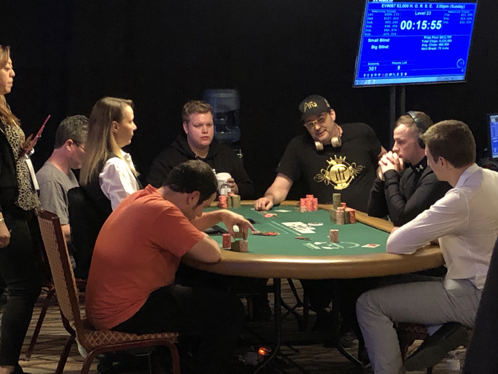 We're less than an hour away from the start of the final day of the 2019 WSOP main event, but there's already some drama developing on the other side of the Amazon Room at the Rio. Phil Hellmuth is one of six players remaining in a $5,000 no-limit hold'em event with eyes on a record-extending 16th WSOP gold bracelet. If he pulls it off, that would make it two consecutive years of Hellmuth winning a bracelet while the main event was playing out.