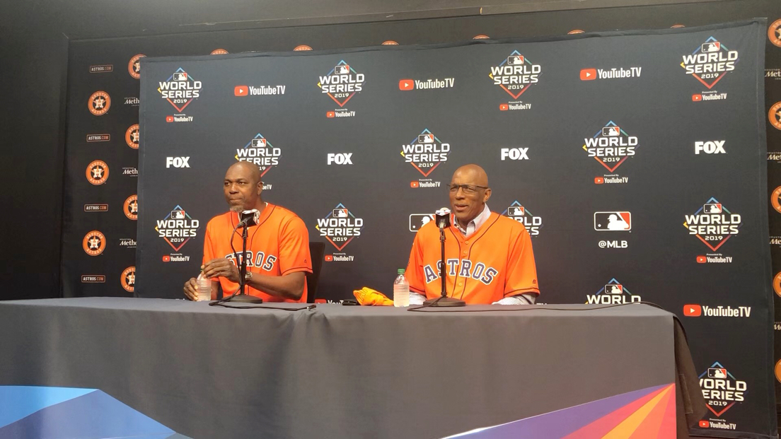 With Hakeem Olajuwon sitting next to him, Lifelong Astros fan Clyde Drexler rattles off the names of Hall of Famers like Willie Mays, Joe Morgan and Harmon Killebrew that he caught home run balls from as a kid in Houston.
