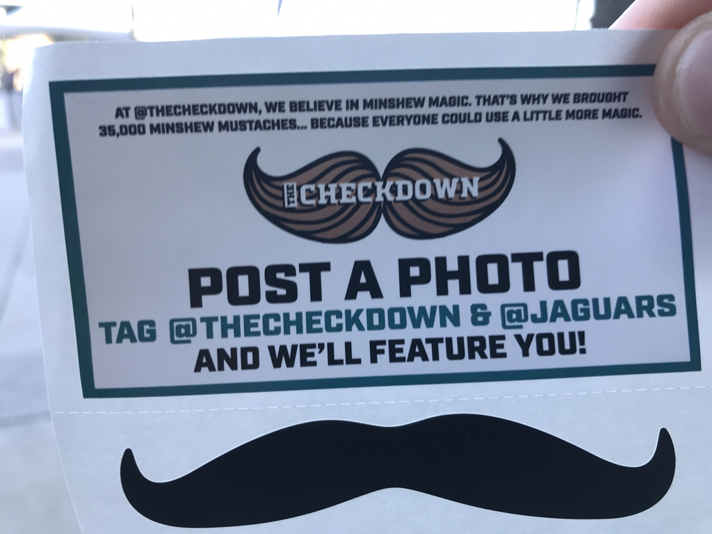 This is one of the 35,000 mustaches that will be handed out at the Jaguars-Saints game as part of the continuing Minshew Mania. (It looks more like owner Shad Khan's mustache, to be honest)